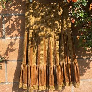 Free People Boho Velvet Pleated Skirt